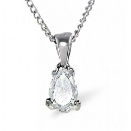 18K White Gold 0.25ct G/vs Diamond Pendant, DP06-25VSW